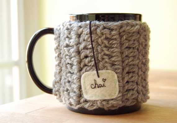 Personalize Chai Love Mug Cozy Crochet Light Grey Tea Cup Cosy - Made to Order