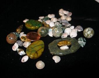 DRAGON  semiprecious stone bead (20) plus shells assortment TeamESST paganteam OlympiaEtsy WWWG CouchSurfingTeam etsyBuddhists WitchesofEtsy
