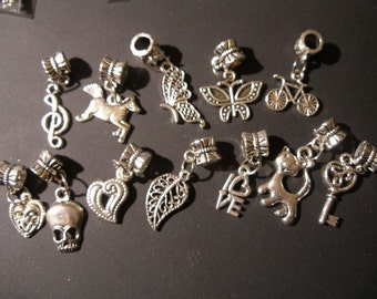 Big Hole Charms, Beads 15 designs, silver, gold, you choose 10 pieces  - fit eurostyle FREE bracelet with 4 lots  Team ESST,  OlympiaEtsy