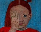 Original Mixed Media Portrait Painting Half Blind 9x12 wrapped canvas little girl, hand, pigtail, red