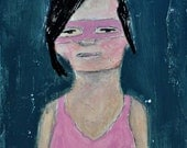 Girl Wearing a Mask 5x7 Acrylic Portrait Painting Mixed Media, April, girl, pink, masquerade mask