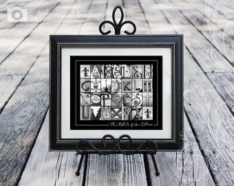 The ABCs of New Orleans - Black and White Letter Photography - 8x10 Fine Art Print Unframed