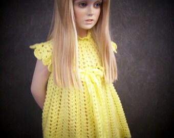Clothing, Children, Girls, Dresses, Yellow Crochet Dress, Easter Dress, Party Dress, Handmade Dress