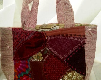OOAK Crazy Patch Handbag from vintage textiles