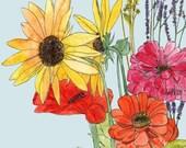 Farmer's Market Bouquet - Watercolor Art Print Flowers Sunflower Zinnia