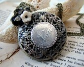 Say NON Steampunk French Text Pocket Watch Necklace