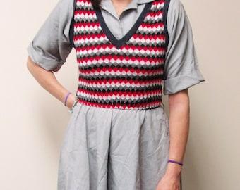Vintage Dress, Sweater Vest Dress by Seneca, 1970s Vintage