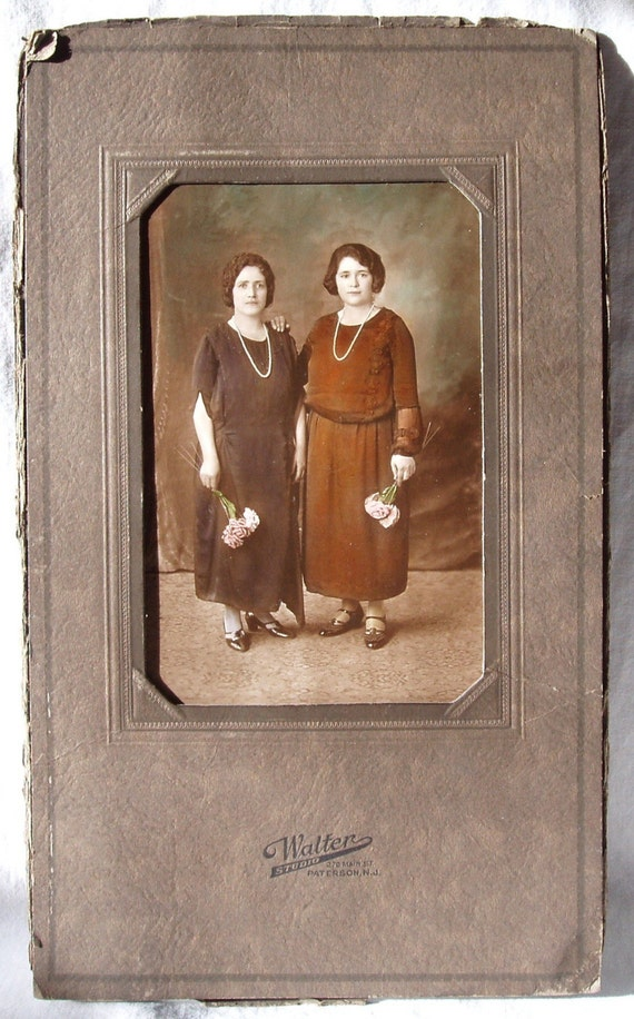 Antique Photograph of Two Sisters or Friends, Colorized, Holding Flowers