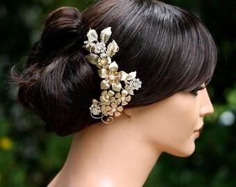 Gold Bridal Headpiece Large Flower Comb Golden Shadow Crystal Matt Gold Bridal Comb Vintage Wedding Comb Wedding Hair Accessories GAEA GRAND