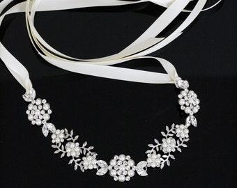 Wedding Hair Accessory Leaf Headband Vintage Bridal Headband Pearl Crystal Ribbon Headband ALICE RIBBON