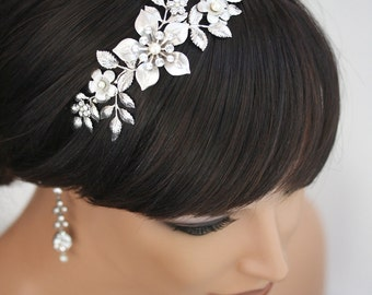 Bridal Headband, Wedding Hair Accessories, Flower Headband with pearl and rhinestone, Vintage wedding  LISSE Headband
