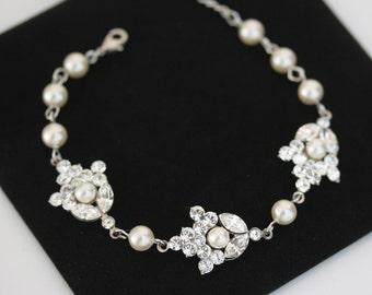 Pearl Wedding Bracelet, Pearl Rhinestone Bridal Bracelet, Swarovski Rhinestone Wedding Jewelry, SEPTEMBER