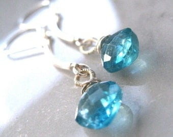 Blue Water Apatite Dangle Earrings Cushion cut gems, all sterling silver beadtip earwires, handmade silver bails