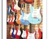 "Fender Guitar Art Print ""Fender Strats"" 11x14"" and 13x19"" Signed and Numbered Buy Any Two Get One Free"