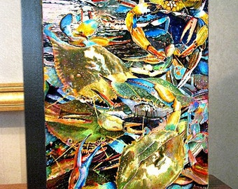 """Maryland """"Live Blue Crabs"""" Art 11x14x1.5"""" Canvas Prints On Gallery Wrap Canvas"""