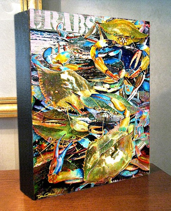 """Blue Crabs Art Gallery Wrap Canvas Print 8x10x1.5"""" and 11x14x1.5"""" Signed and Numbered"""