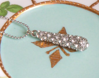 Rhinestone Teardrop and Silver Ball Chain Necklace