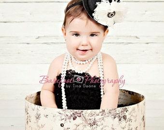 Black Mini Top Hat, Infant Headbands, Mad Hatter Headband For Baby Girls, Alice In Onederland, Vintage Baby Headband