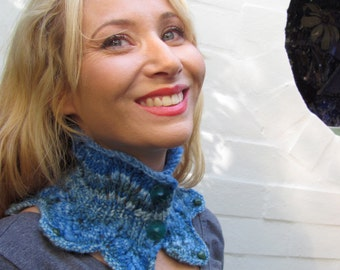 Blue Collar NeckWarmer - Mermaid - Hand Knit of Soft Hand Spun, Hand Dyed Yarn with Aventurine Beads