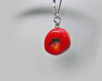 Gemstone Charm; Interchangeable Red Coral Nugget Charm Wire Wrapped in Sterling Silver; Coral Nugget Necklace Dangle; Workplace Jewelry