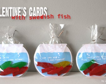 Printable Valentine's Cards - Swedish Fish Bowls