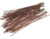 """2"""" Headpins - 48 Antique Copper Head Pin Findings - Aged Solid Copper Findings - 22 gauge 2 Inch (FSAC30)"""