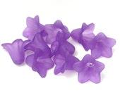 10 Purple Frosted Lucite Flowers - Dark Purple Beads 18mm x 12mm Flower Beads Frosted Trumpet Flower Beads