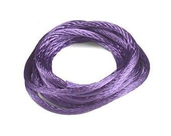 Purple Kumihimo Cord 6 Yards 1mm Satin Rattail Cord - USA Made Cotton/Rayon Blend - Purple Cord Ribbon Kumihimo Ribbon Grape