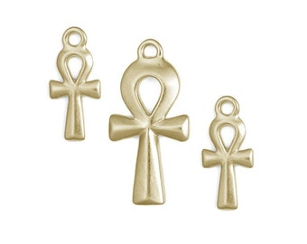 Egyptian Ankh Pendant 3 Piece Set Gold TierraCast Ankh Pendant and Charms