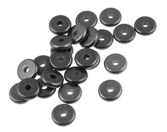20 Washer Beads - 6mm Flat Disk Beads - Gunmetal Beads - Gunmetal Spacer Beads - TierraCast Pewter Black Oxide Heishi Metal Beads (PS287)