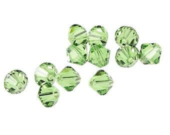 12 PERIDOT 6mm Swarovski Crystal Elements Bicones - Article 5301 5328 - 6mm Bicone Beads Light Green Beads Swarovski Beads