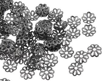 144 Gunmetal Beadcaps - 6mm Filigree Gun Metal Bead Caps - Black Oxide Metal Beads - Small Delicate Lacey Bead Cap  (FSGM99)