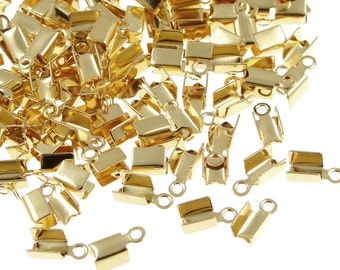 Gold Cord Crimps 72 Fold Over Cord Ends 7mm long Leather Cord Findings Gold Findings (FS2)