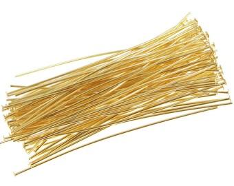 "100 Gold Head Pins - 2"" 22 Gauge Gold Plated Headpins - Gold Findings Head Pin Findings - 22g 2 Inch Gold Head Pins (FS82)"