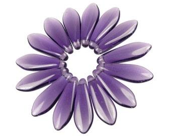 50 Purple Beads - Dagger Beads Tanzanite Purple 16mm x 5mm Dagger Czech Glass Beads