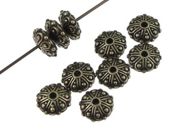 TierraCast OASIS RONDELLE Beads - Antique Brass Beads - Tierra Cast Brass Oxide Bronze Beads - Bali Beads (P1048)