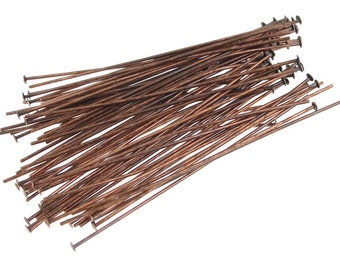 "2"" Headpins - 48 Antique Copper Head Pin Findings - Aged Solid Copper Findings - 22 gauge 2 Inch (FSAC30)"