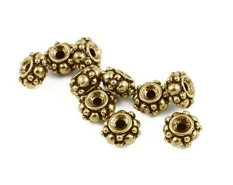 Antique Gold Beads Bali Style Beads TierraCast Pewter Turkish Bali Beads Gold Heishi Spacer Metal Beads (PS40)