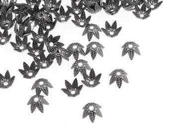 Gunmetal Bead Caps 72 6mm Bumpy Star Petal Gun Metal Beadcaps Black Oxide (FSGM115)