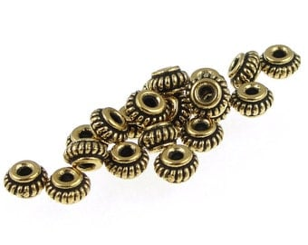 100 Gold Beads 5mm Coil Antique Gold Heishi Beads Bali Style TierraCast Gold Spacers BULK BAG (PS373)