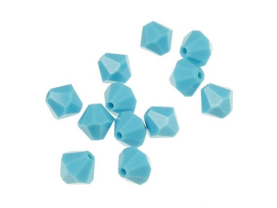 12 TURQUOISE 6mm Bicone Beads Swarovski Beads Swarovski Crystal Elements - Article 5328 5301 6mm -  Light Blue Sky Blue Opaque