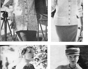 1957 Vogue Knitting Book PDF--5 Mrs. Exeter Patterns ONLY