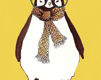Hipster Penguin Print
