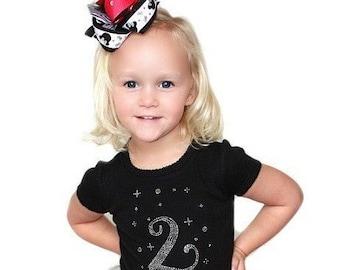 Birthday Girl Shirt,Rhinstone Birthday Shirt,Birthday Bling Shirt,Birthday Party Shirt,Black 2nd Birthday Shirt,2 Year Birthday Shirt,Girls