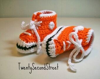 Baby Booties Crochet Orange Hi-top Sneakers Converse Basketball Shoes
