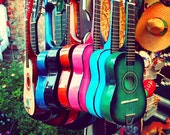 music photography, las guitarras, spanish guitars, Los Angeles, colorful rainbow musician, latin inspired, cherry red emerald green