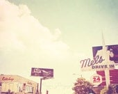 West Hollywood photography, Ketchup, Los Angeles street scape Sunset Blvd Mel's drive-in retro signs, blue travel print 5x5