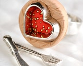 Valentine's Day Red Heart Cookie Cutter Ring in Sugar Dough Brown Polymer Clay with Miniature Golden Dessert Sprinkles. Adjustable Ring