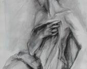 Charcoal Drawing of Female Model Holding Drapery.  Large Fine Art Print