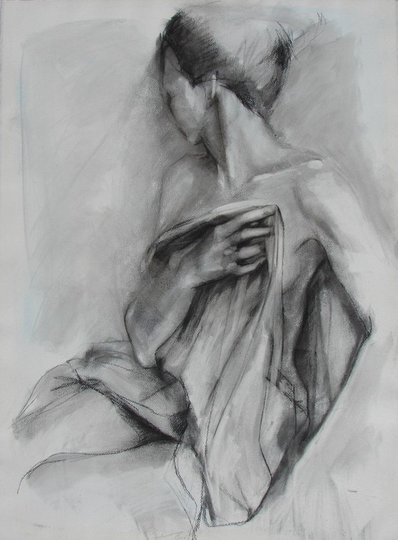Charcoal Drawing of Female Model Holding Drapery.  Large Fine Art Print